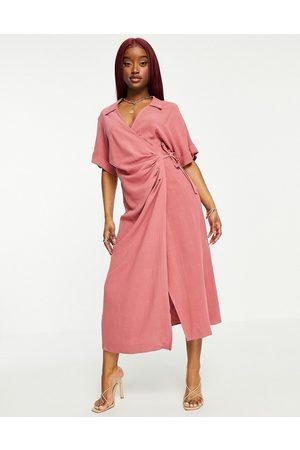 ASOS Linen wrap midi dress in dusty rose-Pink