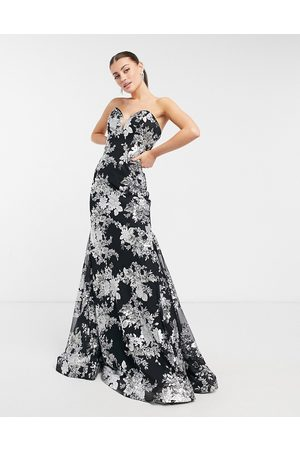 JOVANI Strapless fishtail maxi dress in black and white floral