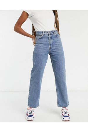 SELECTED Femme kate straight leg jeans with high waist in blue