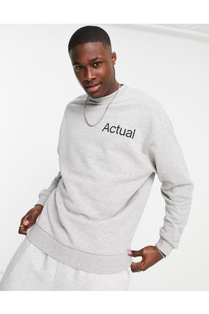 ASOS Co-ord oversized sweatshirt in grey marle with printed logo-White