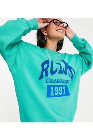 Reclaimed Vintage Inspired unisex spliced reverse sweatshirt with logo print in aqua-Blue