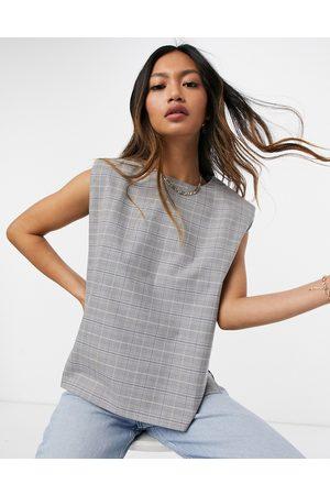 ASOS Padded shoulder suit top in grid paper check-Multi