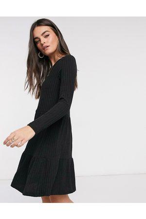 VILA Ribbed mini smock dress in black