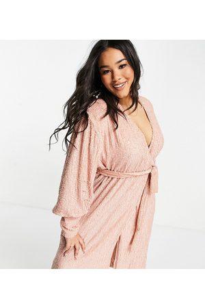 ASOS Curve sequin wrap midi dress in blush-Pink