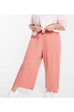 ASOS ASOS DESIGN Curve culotte pants with shirred waist in terracotta-Orange