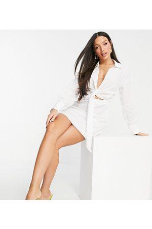 ASOS ASOS DESIGN Tall collared tie drape front mini shirt dress in poplin in white