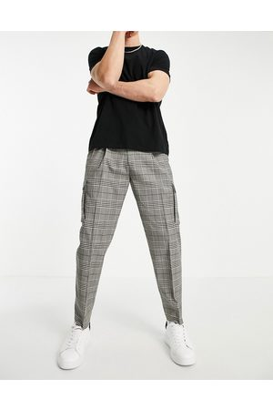 Topman Tapered checked cargo pants in grey