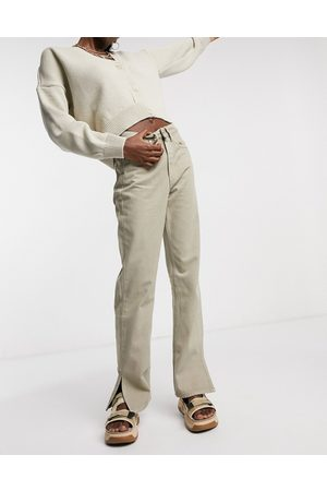 Wåven Straight leg jeans with side slit in sand-Neutral