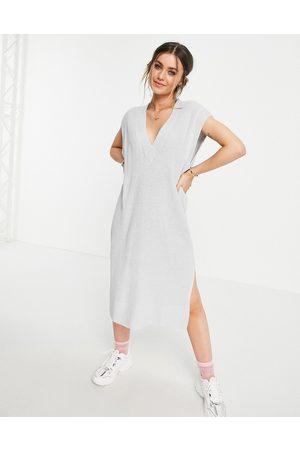 Monki Berra knitted sleeveless midi dress with v-neck in grey