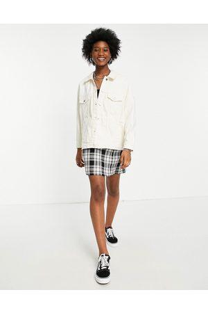ONLY Oversized denim jacket in washed ecru-White
