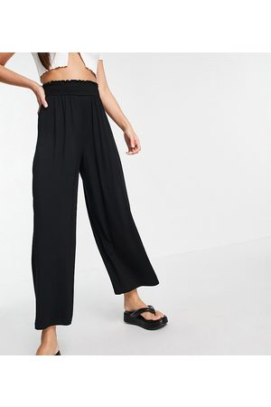 ASOS ASOS DESIGN Tall culotte pants with shirred waist in black