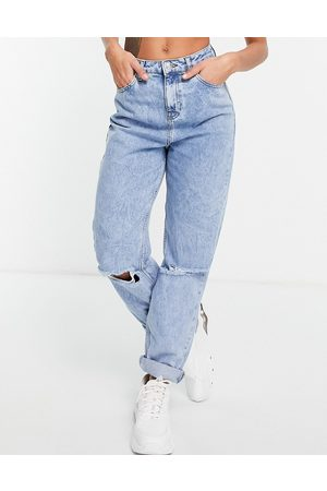 ASOS High rise 'original' mom jeans in lightwash with rips-Blue