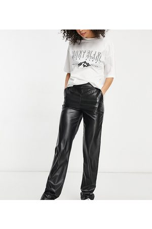 ASOS ASOS DESIGN Tall leather-look slide trackpant in black