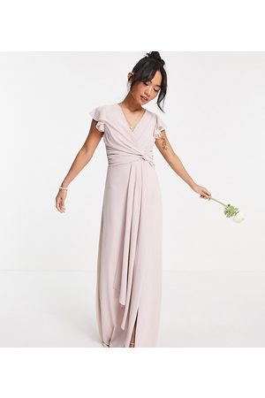 TFNC Bridesmaid flutter sleeve ruffle detail maxi dress in mink-Pink