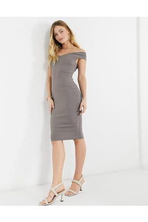 Vesper Bardot pencil midi dress in dusky brown