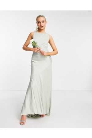 ASOS Bridesmaid cowl back satin maxi dress with button side detail in olive-Green