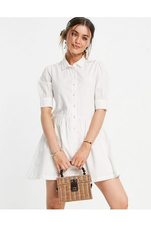 Pimkie Poplin smock dress in white