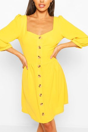 Boohoo Linen Button Detail Square Neck Skater Dress- Mustard