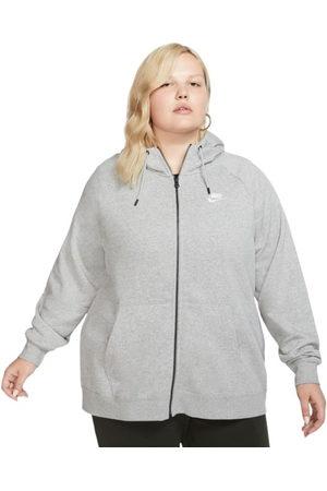 Nike Women Hoodies - Sportswear Essential Full Zip Womens Hoodie - Plus Size - Dark Heather/