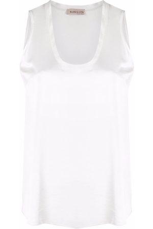 Blanca Vita Satin scoop-neck tank top