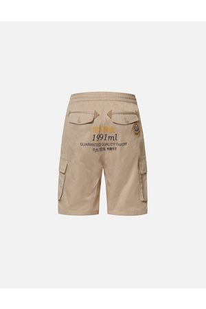 Evisu Men Shorts - Daruma Label Embroidered Cargo Shorts