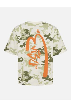 Evisu Men Short Sleeve - Allover Daruma Camouflage Print T-Shirt with Graffiti Logo
