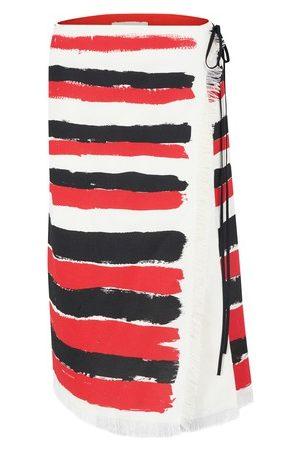 Marni Women Midi Skirts - Brushstroke-stripe frayed midi skirt