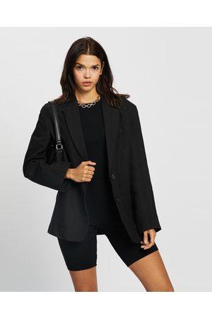 AERE Oversized Linen Blazer - Blazers Oversized Linen Blazer