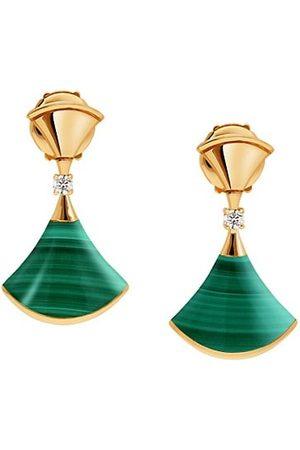Bvlgari Earrings - Divina 18K Yellow Gold, Malachite & Diamond Drop Earrings
