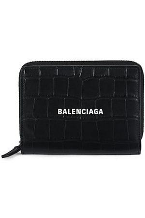 Balenciaga Men Wallets - Cash Croc-Embossed Bi-Fold Wallet