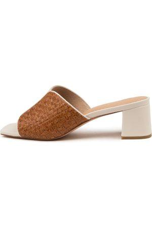 NUDE Women Heeled Sandals - Ava Nu Cream Tan Sandals Womens Shoes Casual Heeled Sandals