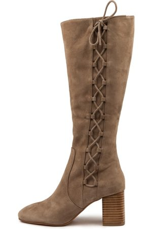 Mollini Women Knee High Boots - Spells Mo Taupe Boots Womens Shoes Casual Long Boots