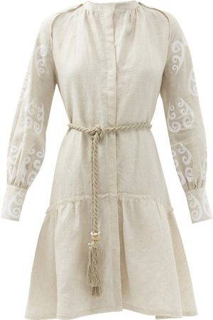 Themis Z Peacock Belted Linen Mini Dress - Womens