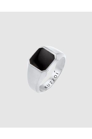 Kuzzoi Ring Mens Signet Ring Enamel Basic in 925 Sterling Silver - Jewellery Ring Mens Signet Ring Enamel Basic in 925 Sterling Silver