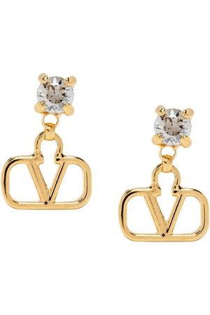 VALENTINO GARAVANI Crystal-embellished VLOGO pendant earrings