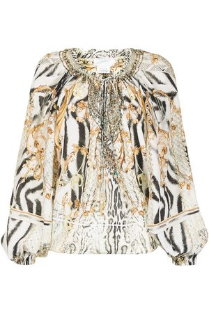 Camilla Women Strapless Tops - Gates of Glory-print off-the-shoulder blouse