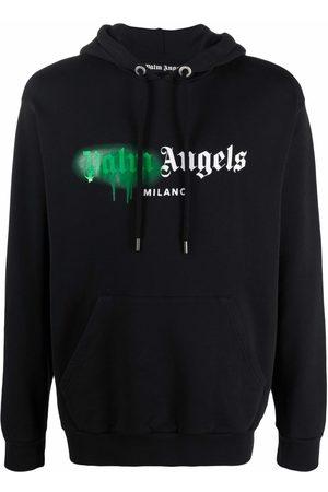 Palm Angels Men Hoodies - Sprayed logo-print hoodie