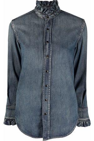 Saint Laurent Women Long sleeves - Long-sleeve denim shirt