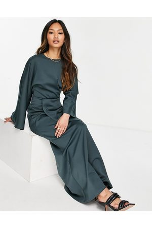 ASOS Women Maxi Dresses - Front-twist maxi dress with fluted sleeve in forest green