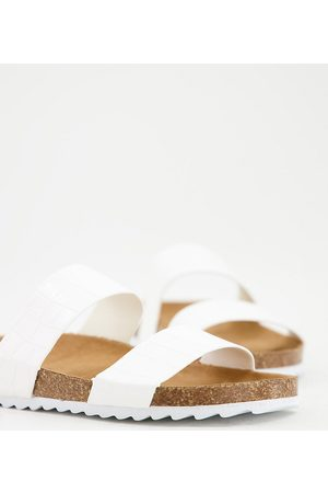 South Beach Women Sandals - Exclusive double strap slider footbed sandals in white croc