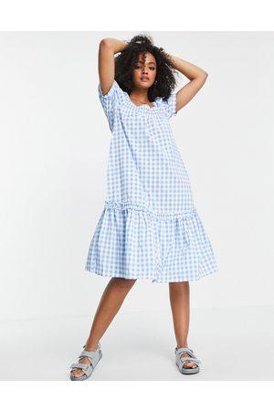 QED London Women Midi Dresses - Square-neck midi smock dress in blue gingham