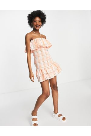 ASOS Women Summer Dresses - Shirred bandeau mini sundress with double layer in check-Multi