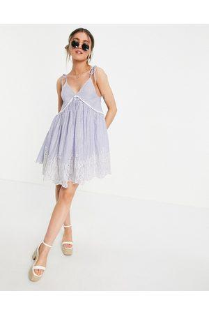 ASOS Women Summer Dresses - Tie shoulder smock mini sundress with broderie hem in stripe print-Multi
