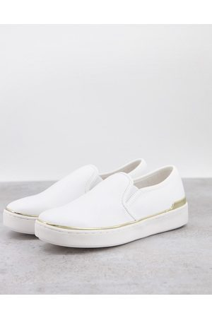 London Rebel Women Flat Shoes - Canvas slip on sneakers in white with gold tone trim