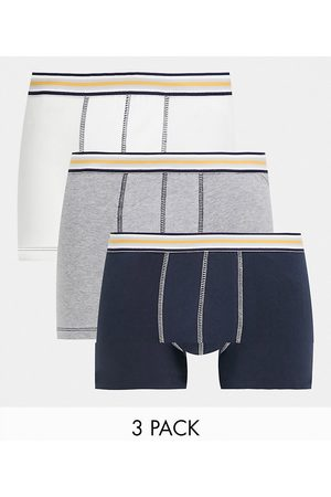 ASOS 3-pack trunks in blue grey and white-Multi