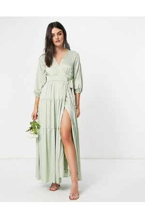 Y.A.S Women Party Dresses - Bridesmaid maxi dress with cut-out back and wrap front in sage green-Blue