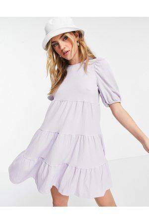 Monki Tiered mini smock dress in lilac-Purple