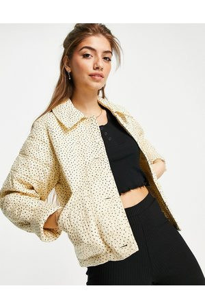Monki Women Winter Jackets - Nico organic cotton quilted jacket in yellow print-Green