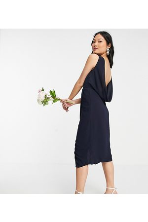 TFNC Bridesmaid cowl back midi dress with split in navy