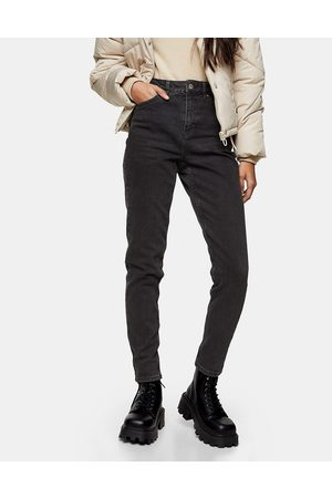 Topshop Tapered mom jeans in washed black